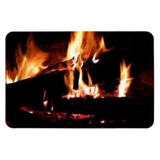 Logs in the Fireplace Warm Fire Photography Rectangular Photo Magnet