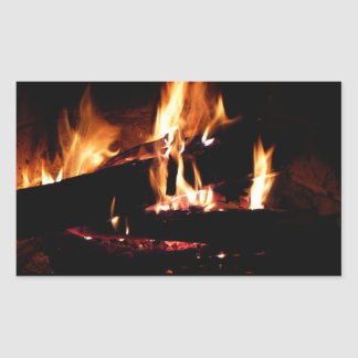Logs in the Fireplace Warm Fire Photography Rectangular Sticker