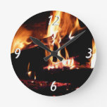 Logs in the Fireplace Warm Fire Photography Round Clock