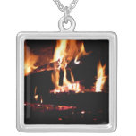 Logs in the Fireplace Warm Fire Photography Silver Plated Necklace