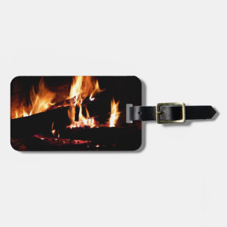 Logs in the Fireplace Warm Fire Photography Tag For Luggage