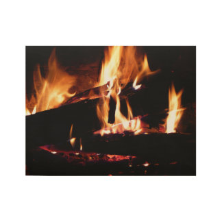 Logs in the Fireplace Warm Fire Photography Wood Poster