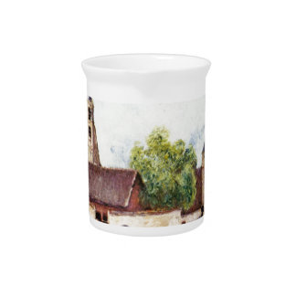 Loing at Moret in the rain by Alfred Sisley Drink Pitcher