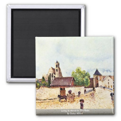 Loing At Moret In The Rain By Sisley Alfred Refrigerator Magnets