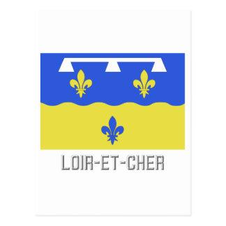 Loir-et-Cher flag with name Postcard