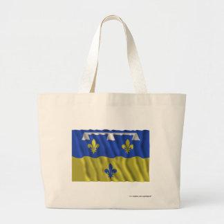 Loir-et-Cher waving flag Tote Bags