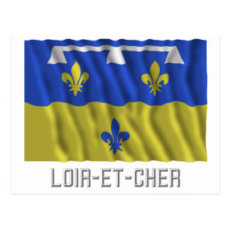 Loir-et-Cher waving flag with name Post Cards