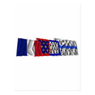 Loire-Atlantique, Pays-de-la-Loire & France flags Postcard