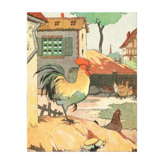 Loire Farmhouse Rooster Gallery Wrap Canvas