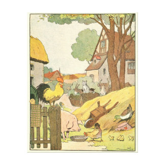 Loire Valley Farm Animals Illustrated Canvas Print