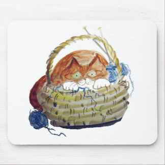 Lois Hides in the Basket of Knitting Mousepads