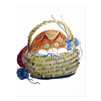 Lois Hides in the Basket of Knitting Postcard