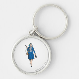 Lois Lane with Microphone Silver-Colored Round Keychain