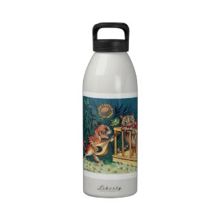 Lois Wain - A Tabby Cat Serenade - Funny Animals Reusable Water Bottle
