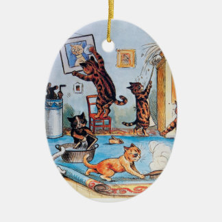 Lois Wain's Spring Cleaning Cats Double-Sided Oval Ceramic Christmas Ornament