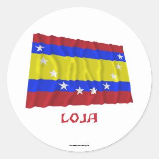 Loja waving flag with Name Classic Round Sticker