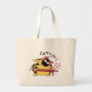 LOL Cats | Fat Cat Musician Large Tote Bag