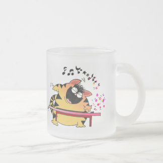 LOL Cats | Fat Musical Cat 10 Oz Frosted Glass Coffee Mug