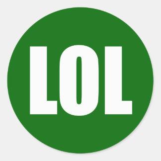 LOL (dark) White on Green Classic Round Sticker