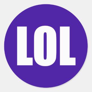 LOL (dark) White on Purple Classic Round Sticker