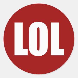LOL (dark) White on Red Classic Round Sticker