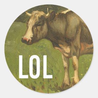 LOL dice la vaca - subtítulos del arte de Trendium Pegatina Redonda