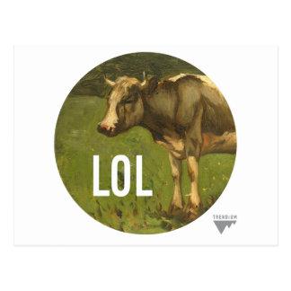 LOL dice la vaca - subtítulos del arte de Trendium Tarjeta Postal