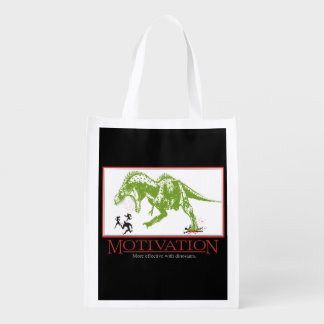 LOL dinosaur chasing people anti motivational Grocery Bags