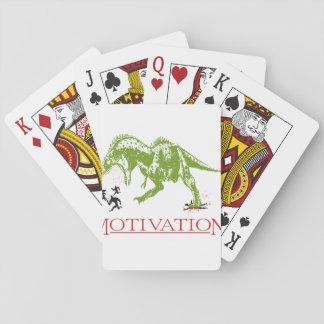 LOL dinosaur chasing people anti motivational Playing Cards