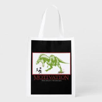 LOL dinosaur chasing people anti motivational Reusable Grocery Bag