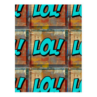Lol! (laugh out loud) on colourful art painting postcard