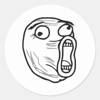 LOL Laugh Out Loud Rage Face Meme Classic Round Sticker