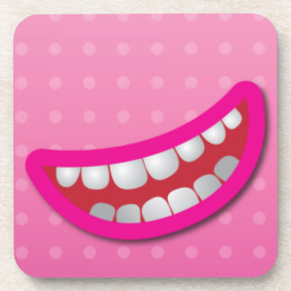 LOL laughing mouth with teeth cute! Beverage Coaster