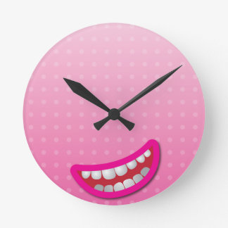 LOL laughing mouth with teeth cute! Round Clock
