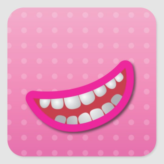 LOL laughing mouth with teeth cute! Square Sticker