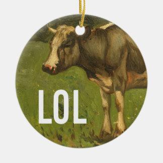LOL says the Cow  - Trendium Art Captions Ceramic Ornament