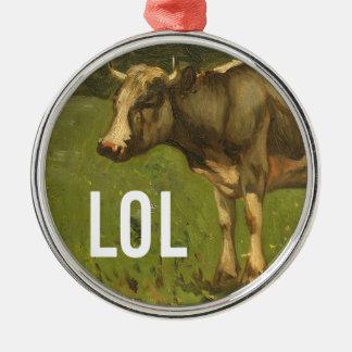 LOL says the Cow  - Trendium Art Captions Metal Ornament
