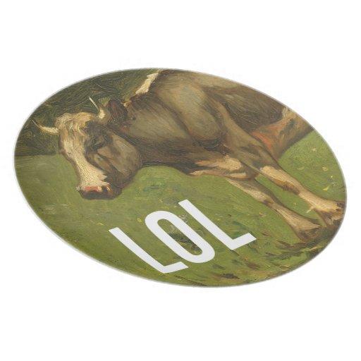 LOL says the Cow  - Trendium Art Captions Dinner Plate
