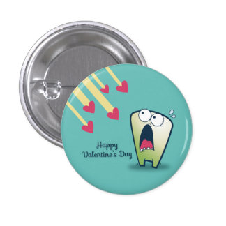 LOL scared monster falling hearts anti-Valentines Buttons