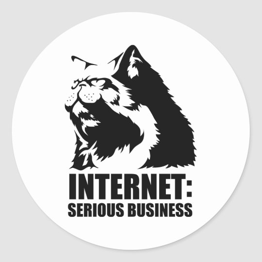 lolcat the internet is serious business classic round sticker