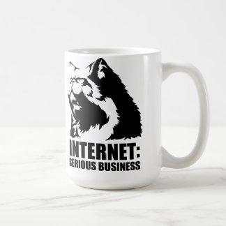 lolcat the internet is serious business classic white coffee mug