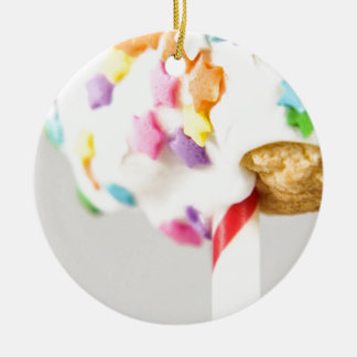 Lolipop Cookie With Sprinkles Ceramic Ornament