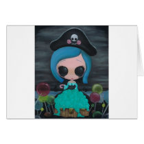 pirate, bubbles, girl, sugar, fueled, sweet, michael, banks, coallus, creepy, big, eyes, Card with custom graphic design