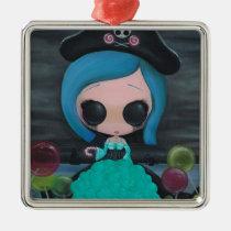pirate, bubbles, girl, sugar, fueled, sweet, michael, banks, coallus, creepy, big, eyes, Ornament with custom graphic design
