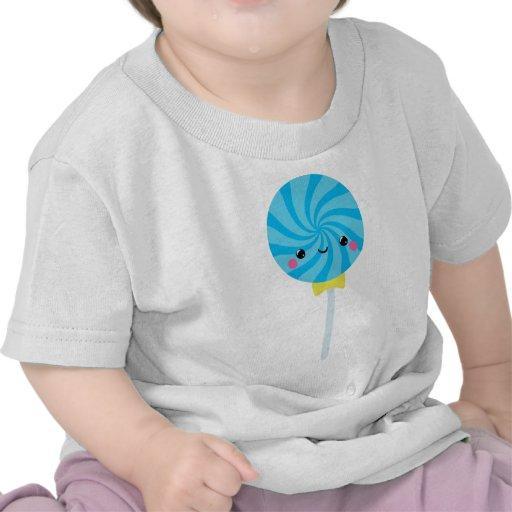 Lollipop azul del lechón del remolino de Kawaii Camisetas