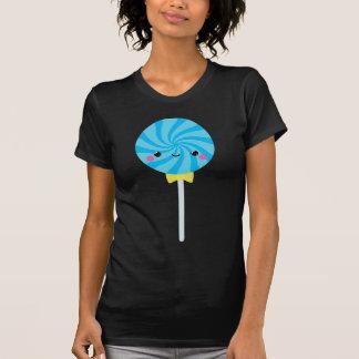 Lollipop azul del lechón del remolino de Kawaii Playeras