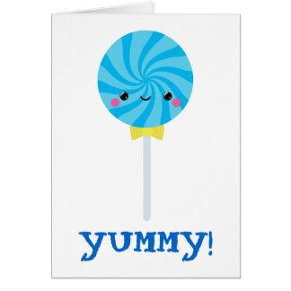 Lollipop azul del lechón del remolino de Kawaii Tarjeta De Felicitación