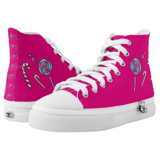 Lollipop Candy Cane Bonbons Hot Pink High-Top Sneakers