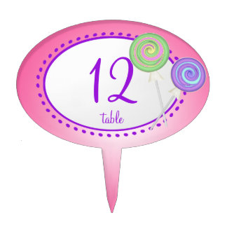 Lollipop Candy Table Number Cake Topper
