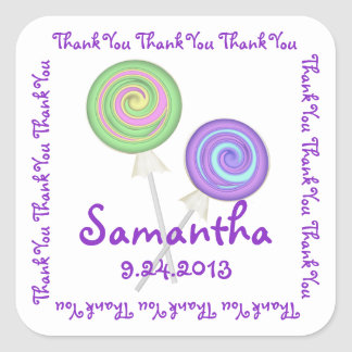 Lollipop Candy Thank You Square Sticker